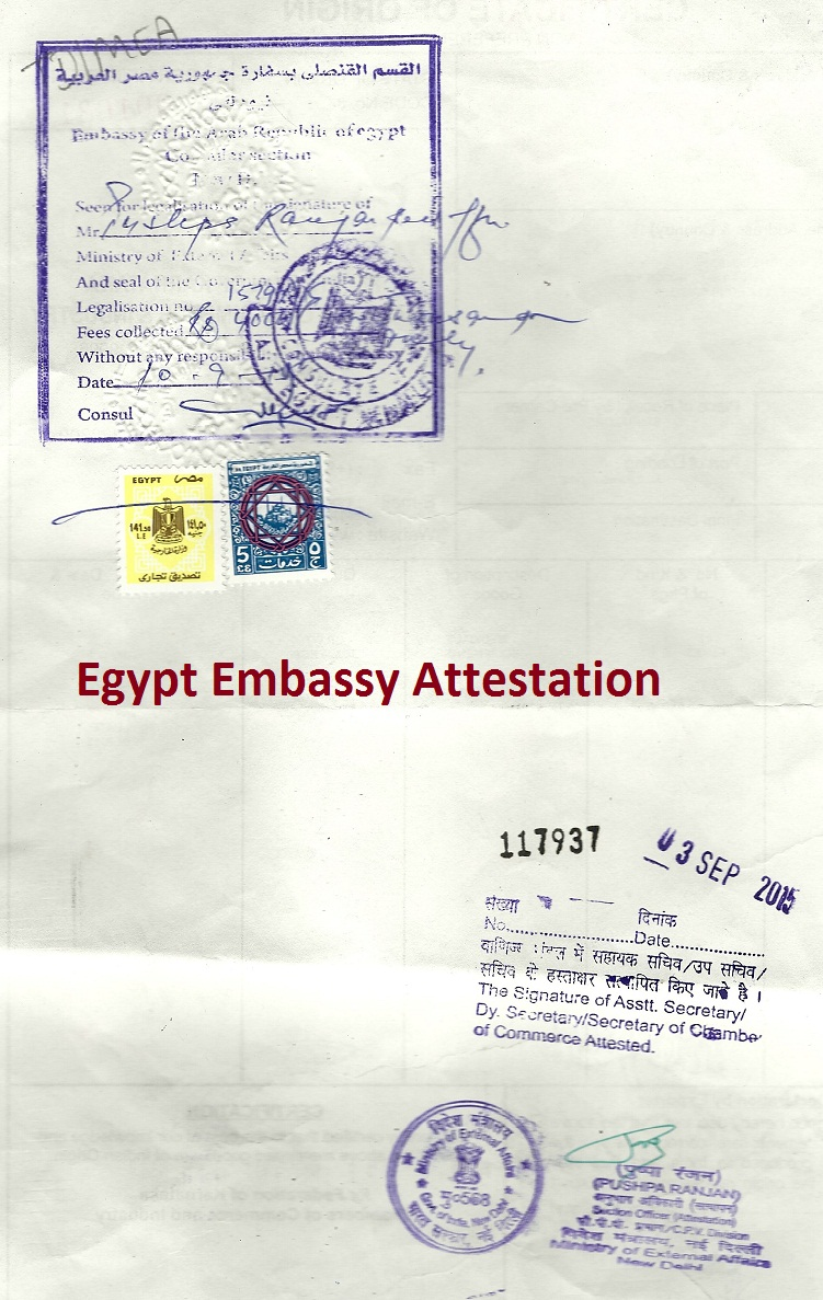 Egypt Embassy Attestation