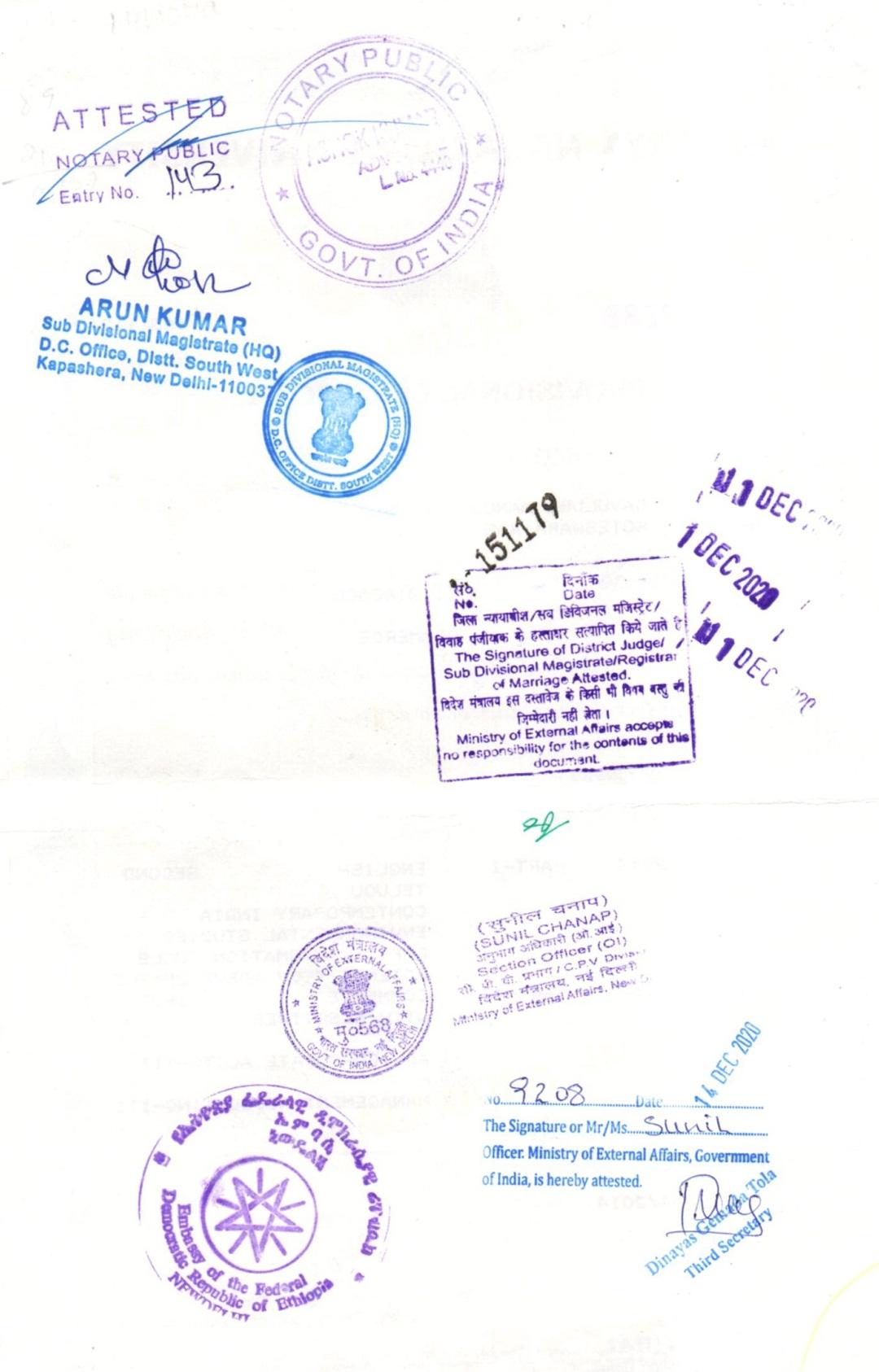 Ethopian Embassy Attestation
